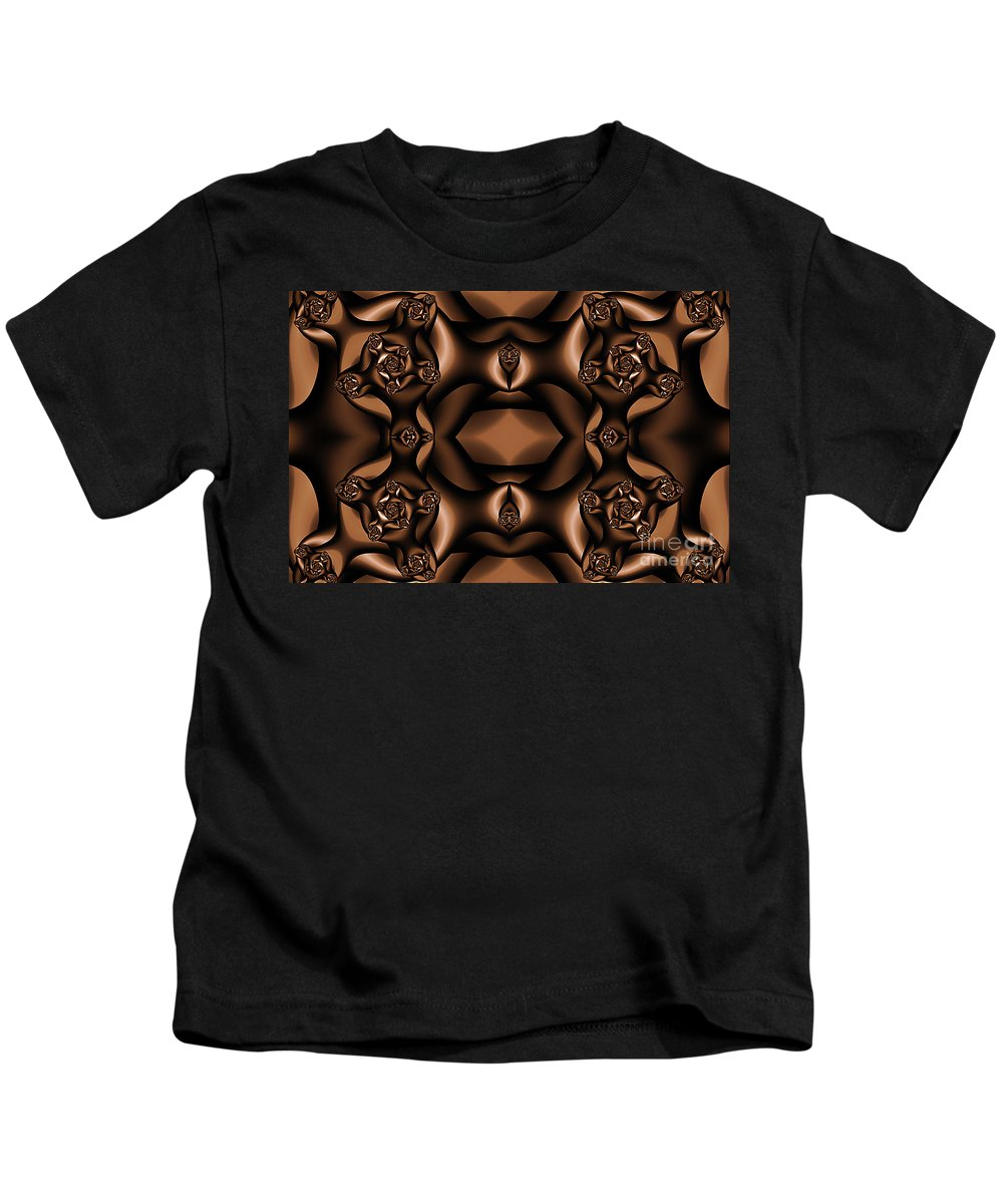 Clay Kids T-Shirt featuring the digital art Rich Coffee Fractal Roses by Clayton Bruster