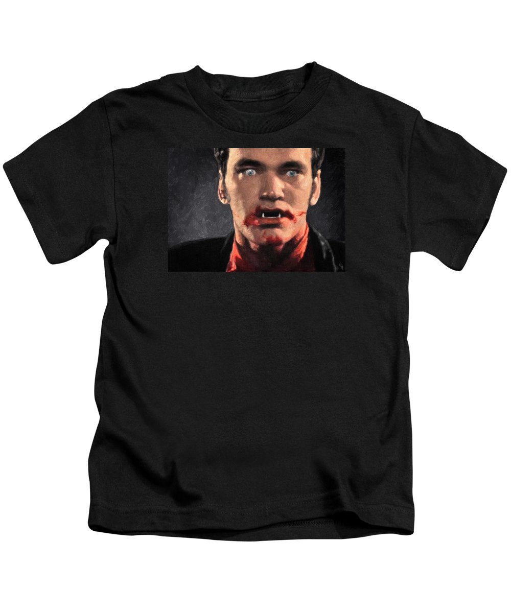 Richie Rising Kids T-Shirt featuring the painting Richie Rising - From Dusk Till Dawn by Zapista Zapista