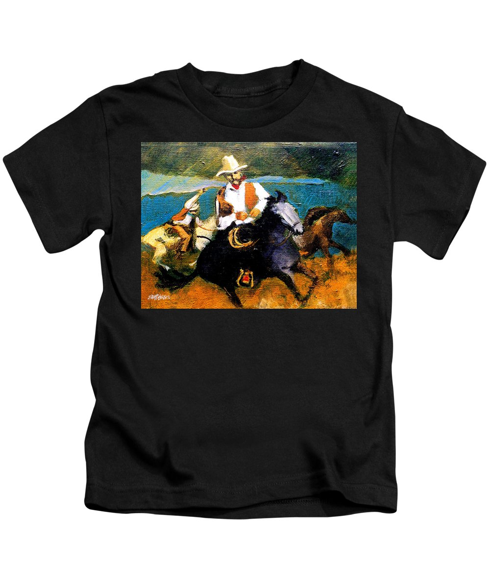 Wranglers Kids T-Shirt featuring the painting Riders in the Storm by Seth Weaver