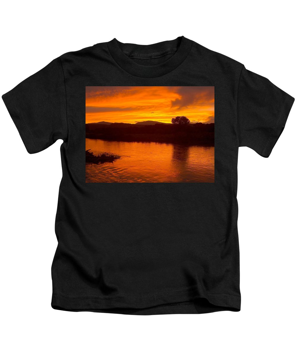 Sunset Kids T-Shirt featuring the photograph Rio Grande Sunset by Tim McCarthy