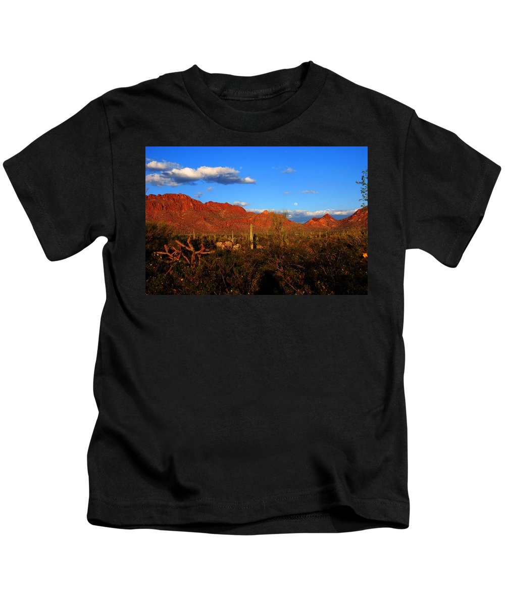Rising Moon Kids T-Shirt featuring the photograph Rising Moon In Arizona by Susanne Van Hulst
