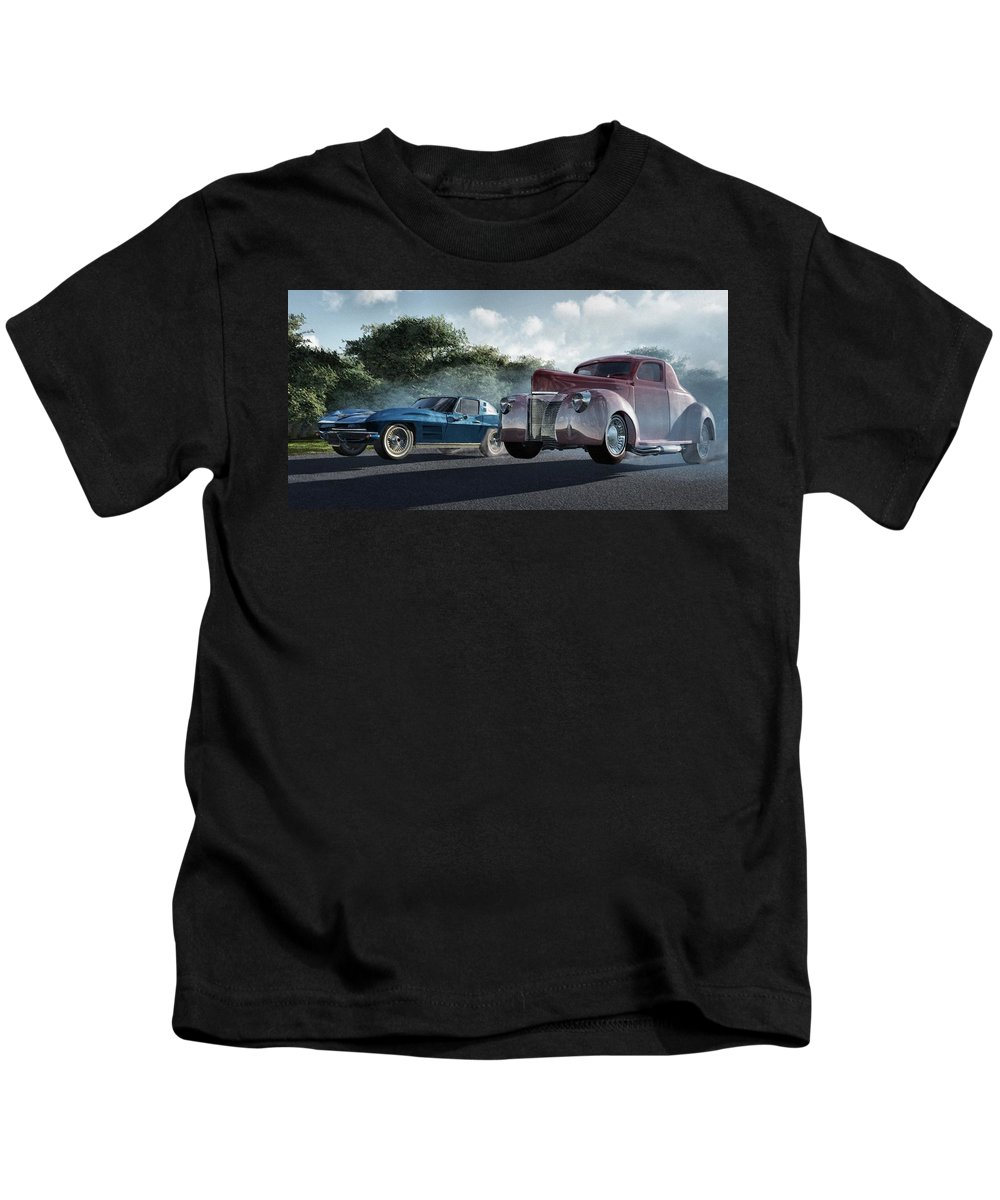 Racing Kids T-Shirt featuring the digital art Rivals by Richard Rizzo