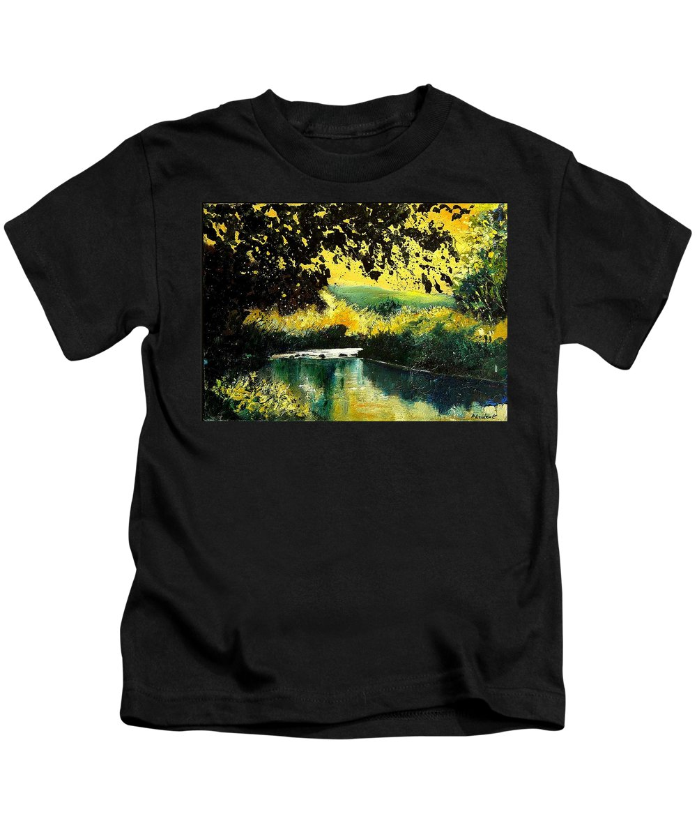 River Kids T-Shirt featuring the painting River Houille by Pol Ledent