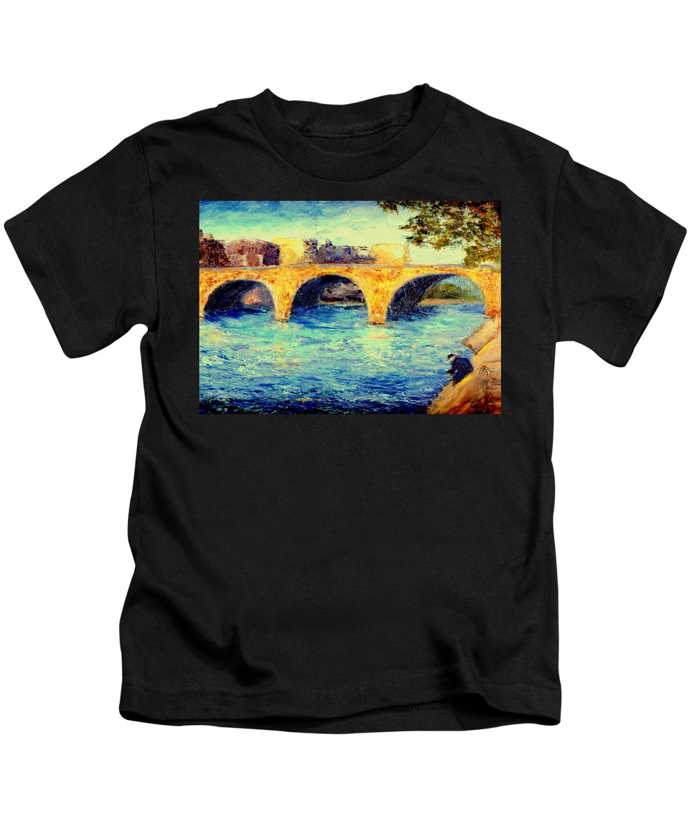 Impressionism Kids T-Shirt featuring the painting River Seine Bridge by Gail Kirtz