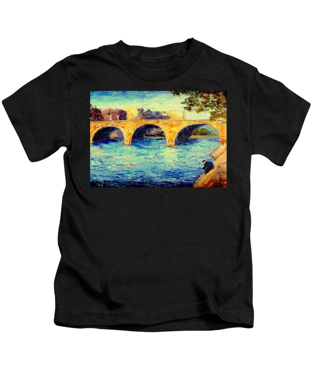 Impressionism Kids T-Shirt featuring the painting River Seine Bridge by Gail Kirtz