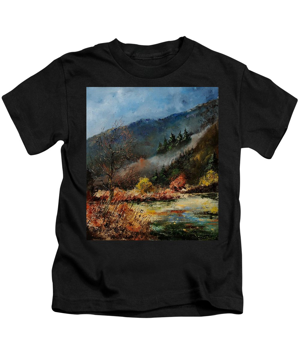 River Kids T-Shirt featuring the painting River Semois by Pol Ledent