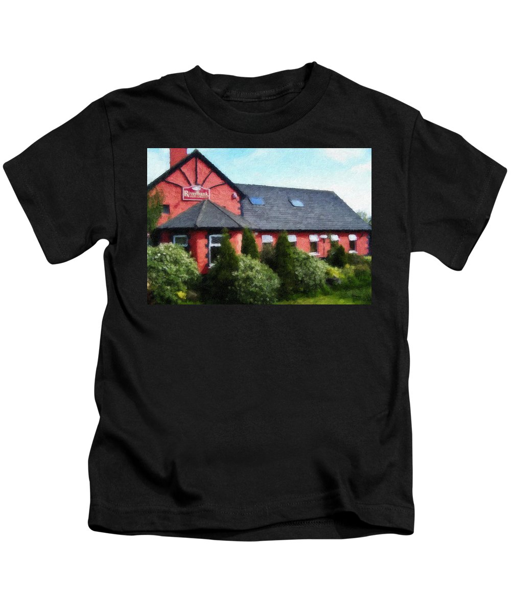 Ireland Kids T-Shirt featuring the painting Riverbank Restaurant Riverstown Ireland by Teresa Mucha