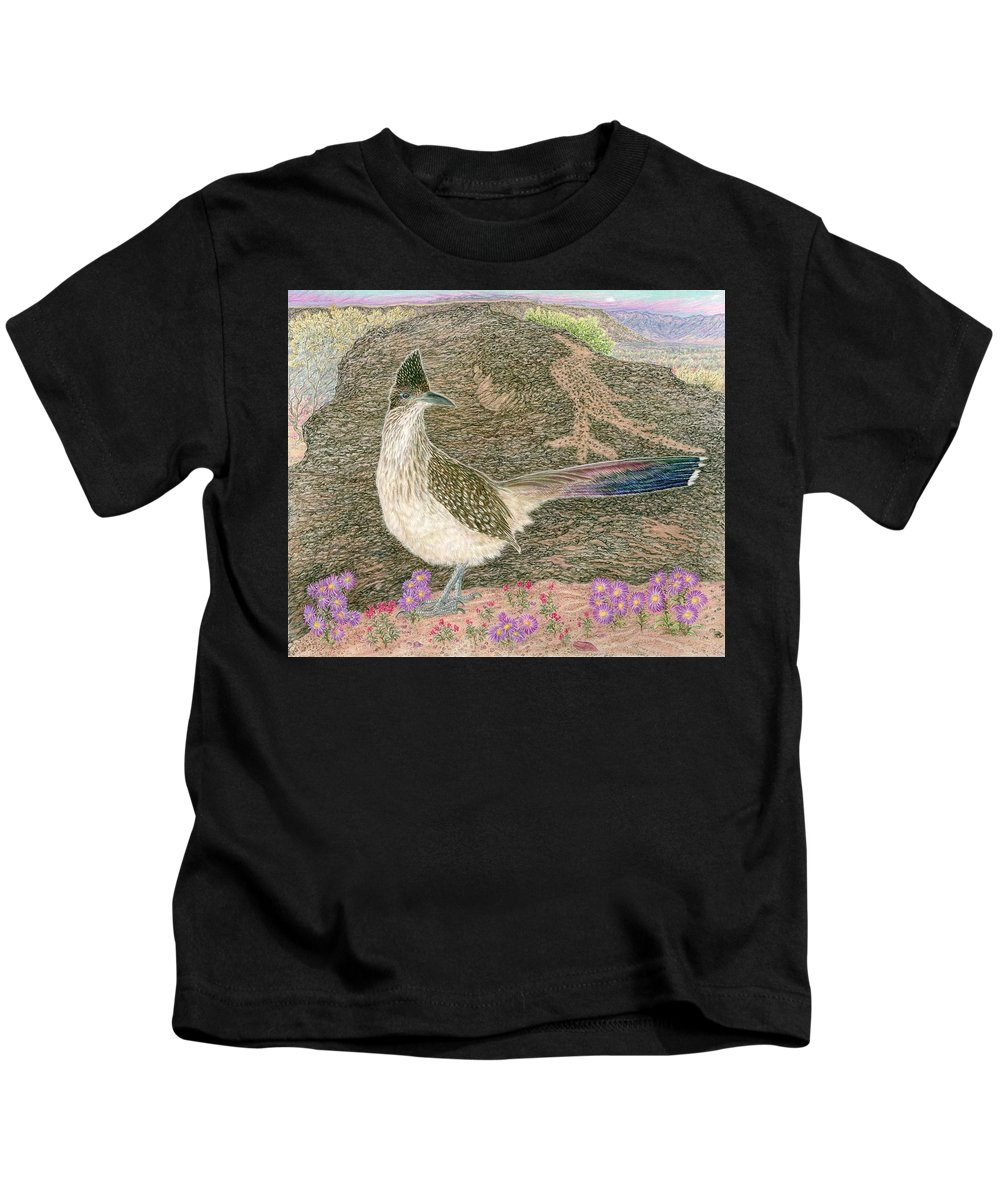 Roadrunner Kids T-Shirt featuring the drawing Roadrunner by Tim McCarthy