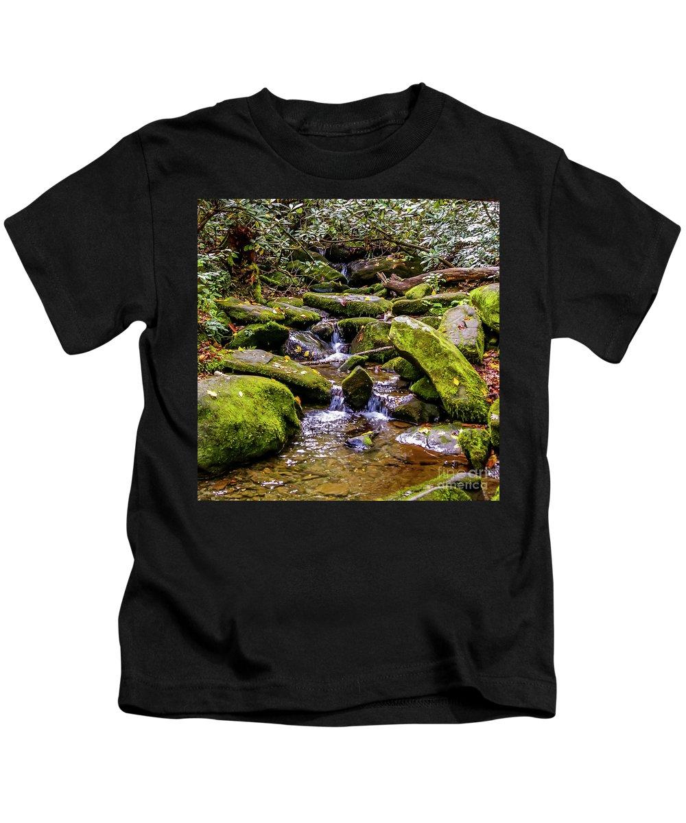 Gatlinburg Kids T-Shirt featuring the photograph Roaring Fork 2 by Nancy L Marshall