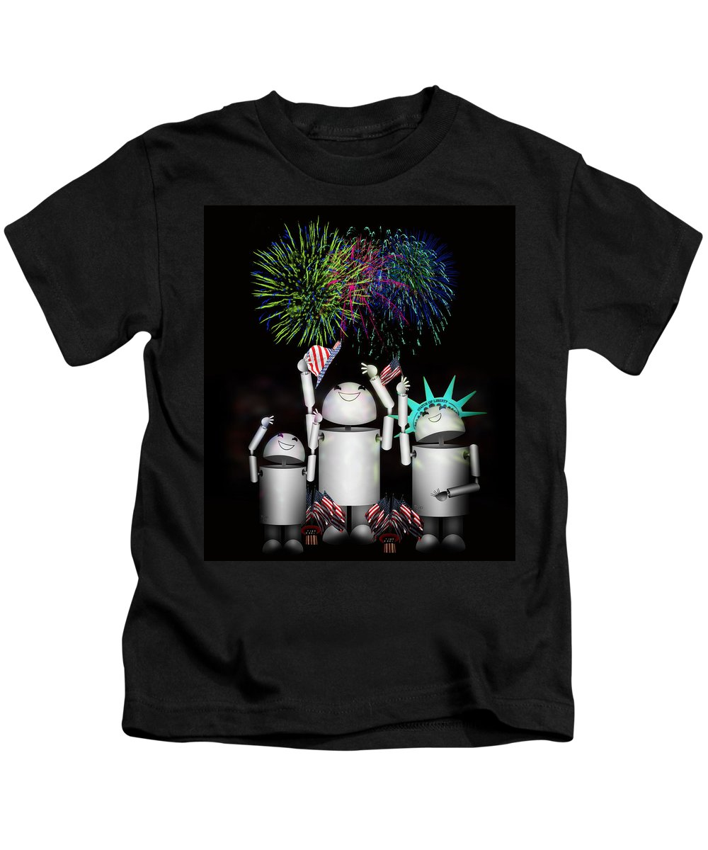 Robot Kids T-Shirt featuring the digital art Robo-x9 And Family Celebrate Freedom by Gravityx9 Designs
