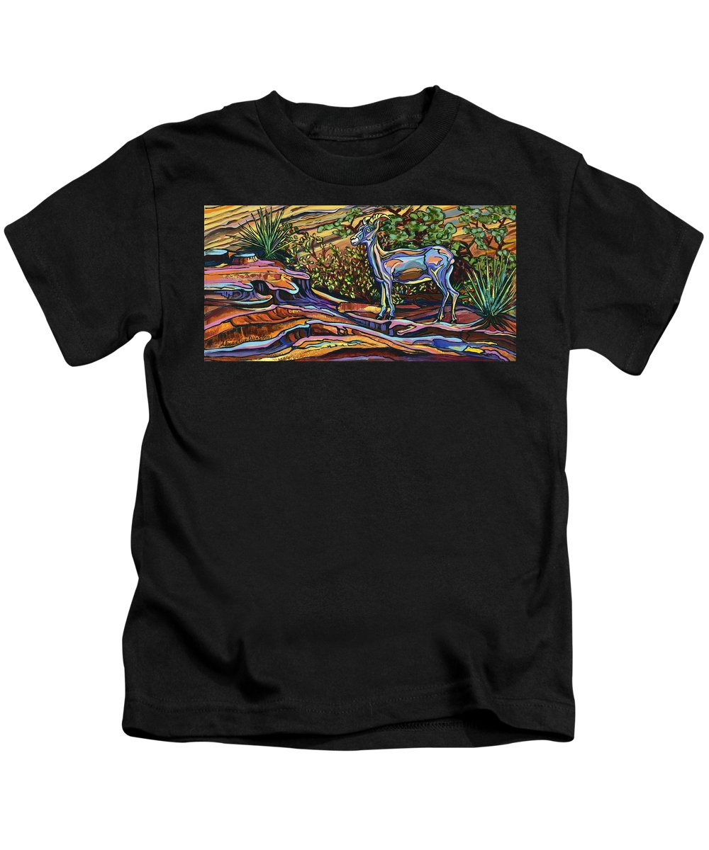 Big Horn Sheep Kids T-Shirt featuring the painting Rock Climber by Alexandria Winslow