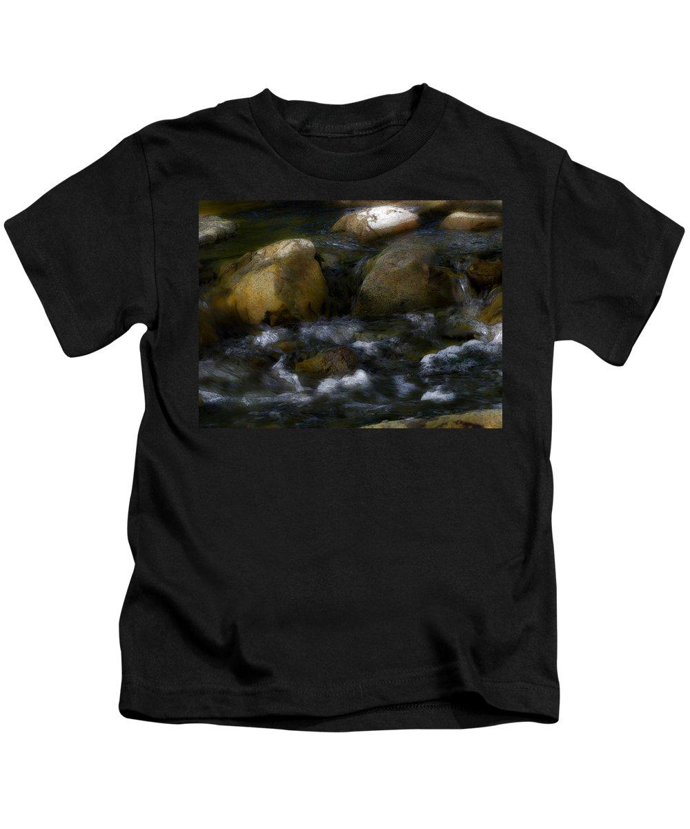 Rocks Kids T-Shirt featuring the photograph Rocks And Water by Karen W Meyer