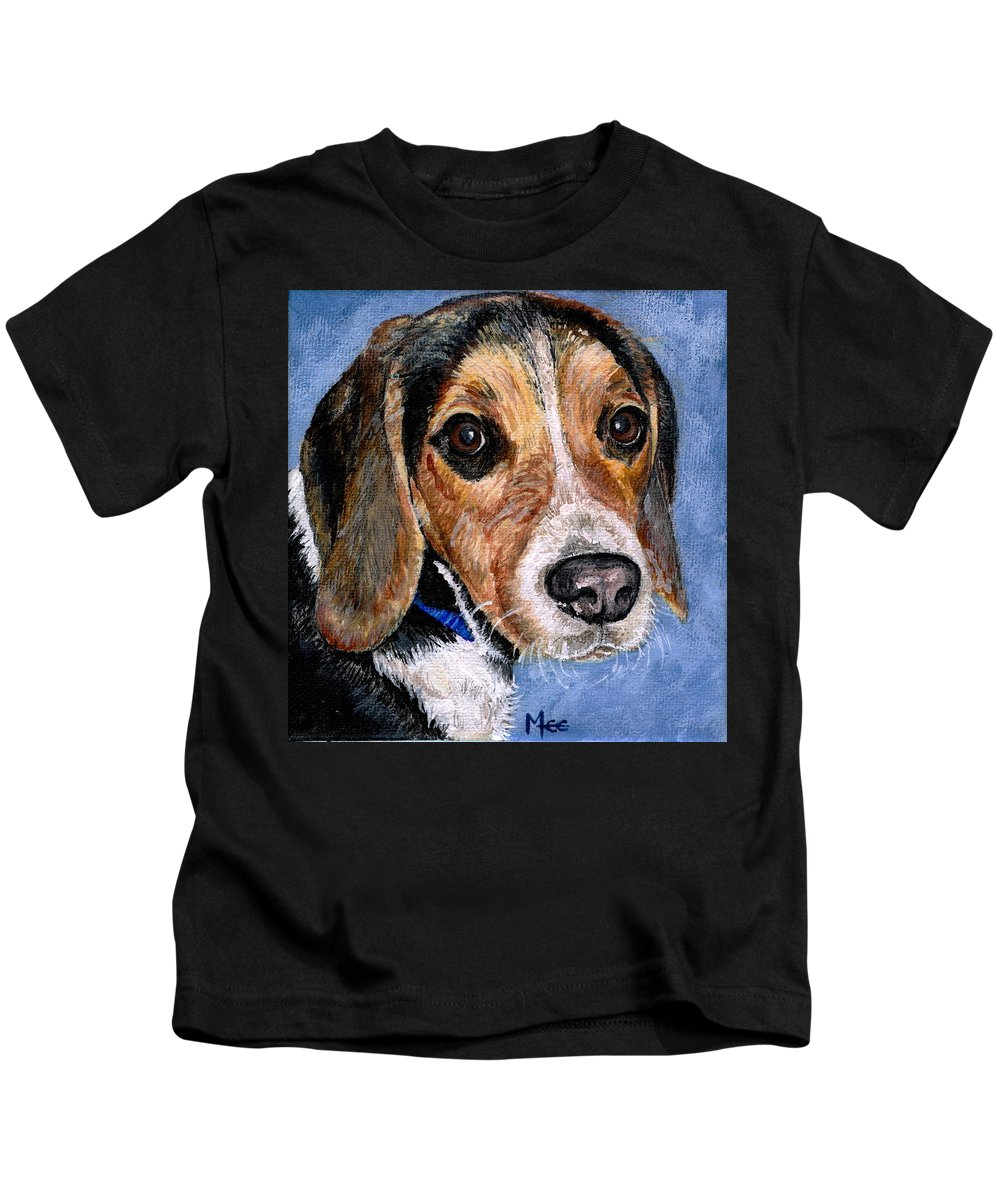 Dog Kids T-Shirt featuring the painting Rocky by Mary-Lee Sanders
