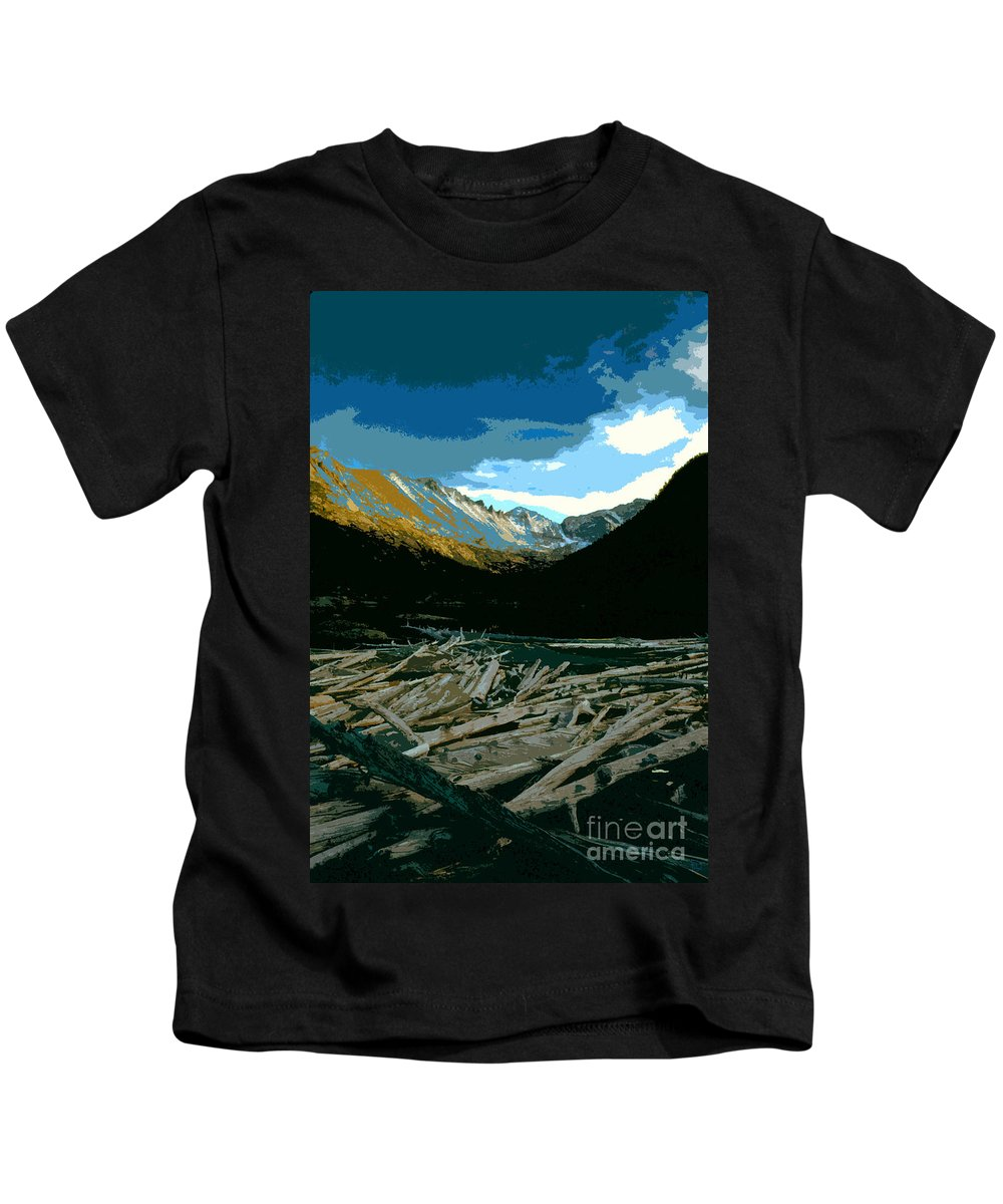 Rocky Mountain National Park Kids T-Shirt featuring the painting Rocky Mountain National Park by David Lee Thompson