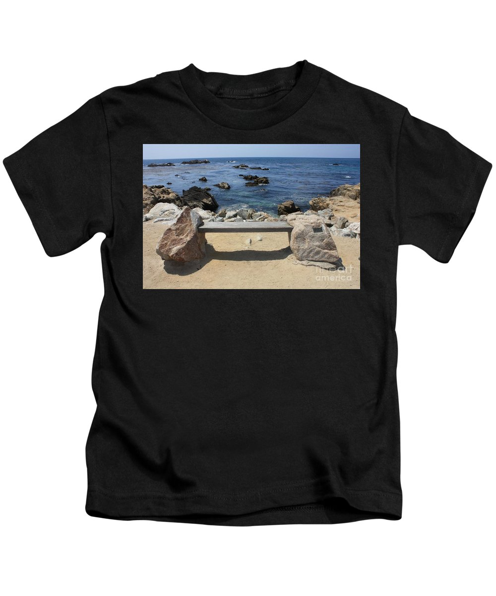 Seaside Bench Kids T-Shirt featuring the photograph Rocky Seaside Bench by Carol Groenen