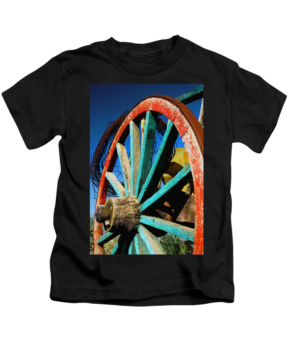 Wagon Wheel Kids T-Shirt featuring the photograph Rode Hard And Put Up - Wagon Wheel Rustic Country Rural Antique by Jon Holiday