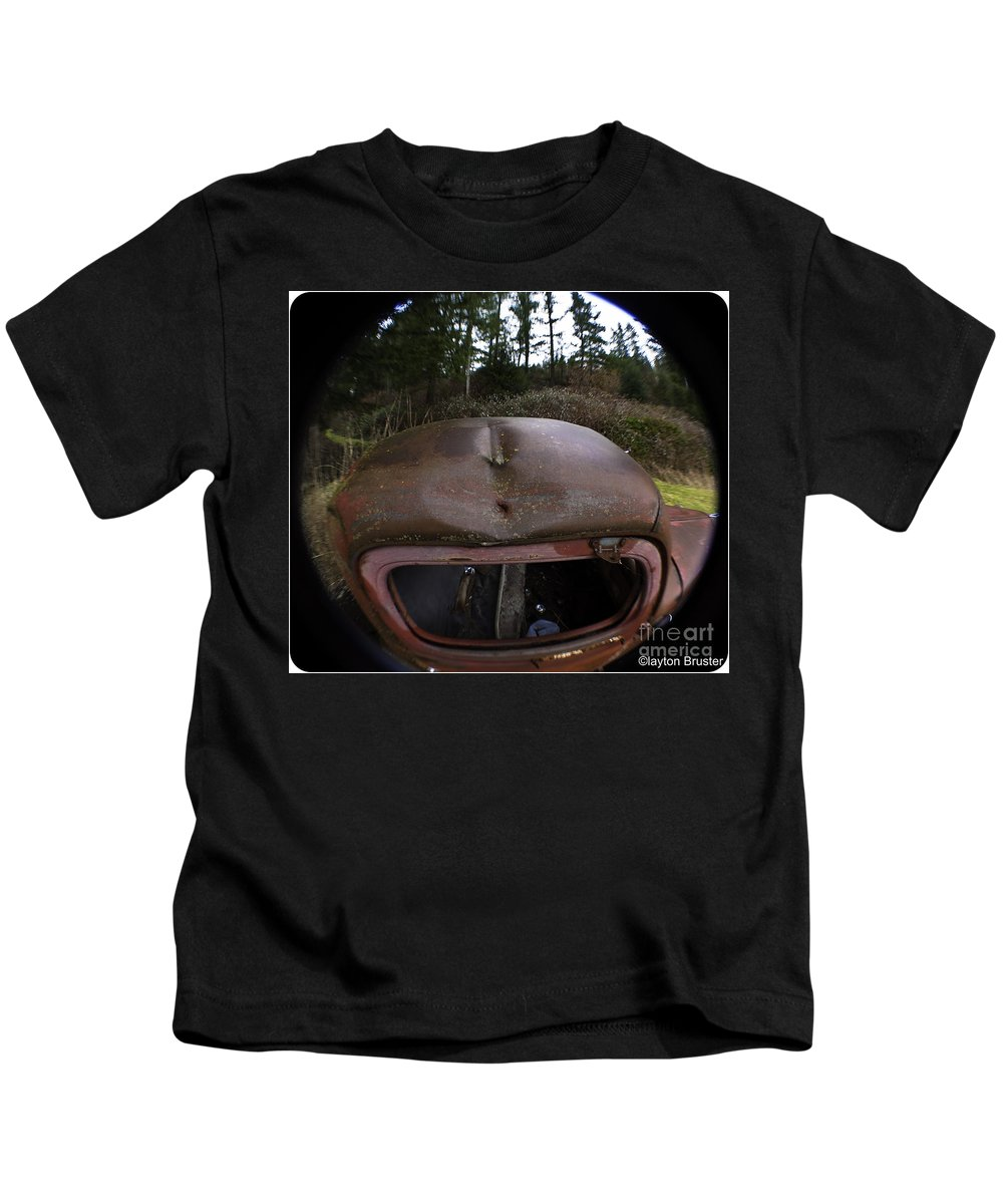 Art Kids T-Shirt featuring the photograph Roll Over Old Truck by Clayton Bruster