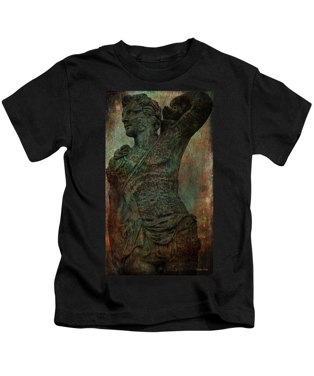 Fine Art Kids T-Shirt featuring the photograph Roman Hunter Statue Torso Left by Lesa Fine