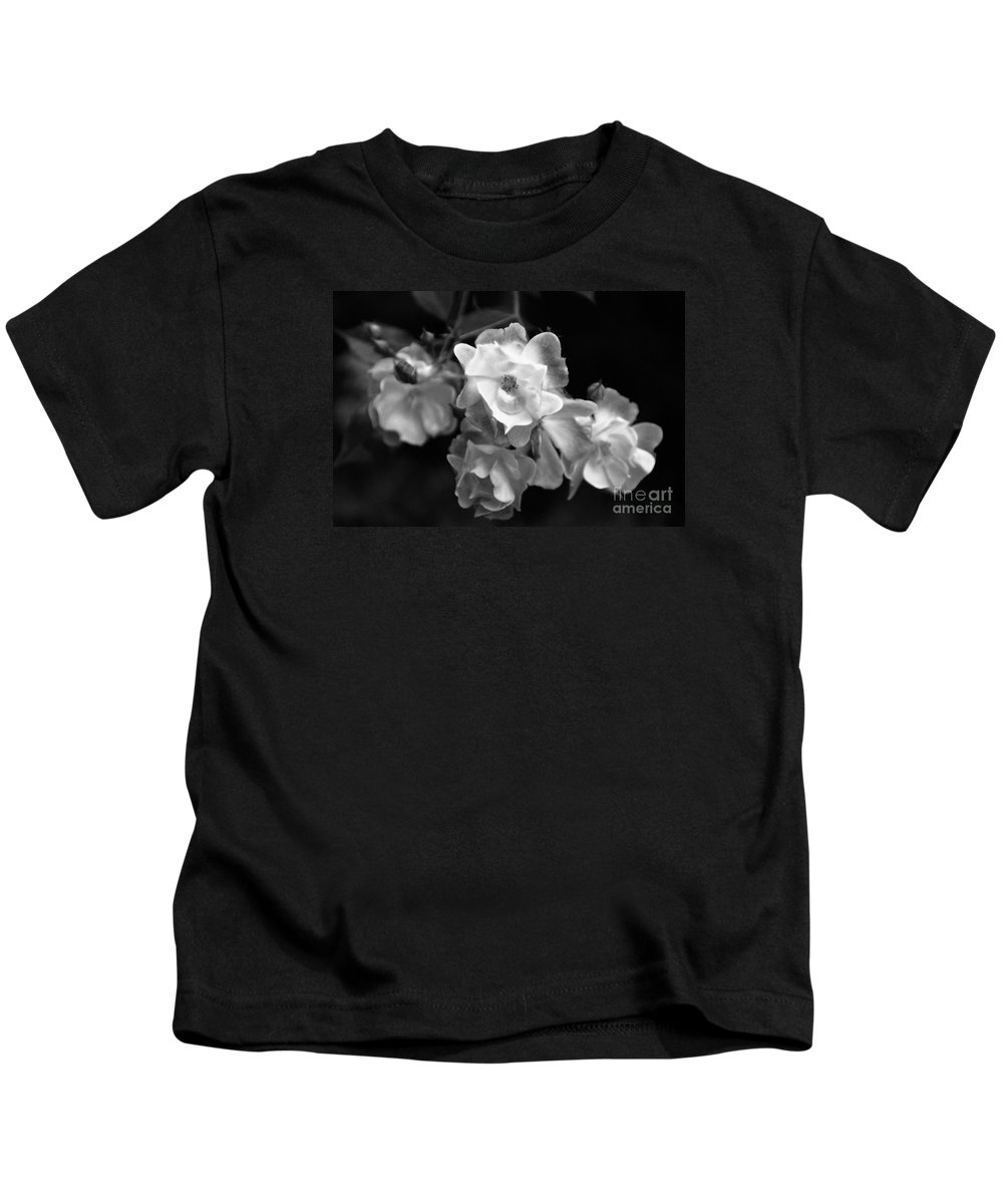 Roses Kids T-Shirt featuring the photograph Romance Bw by Linda Shafer