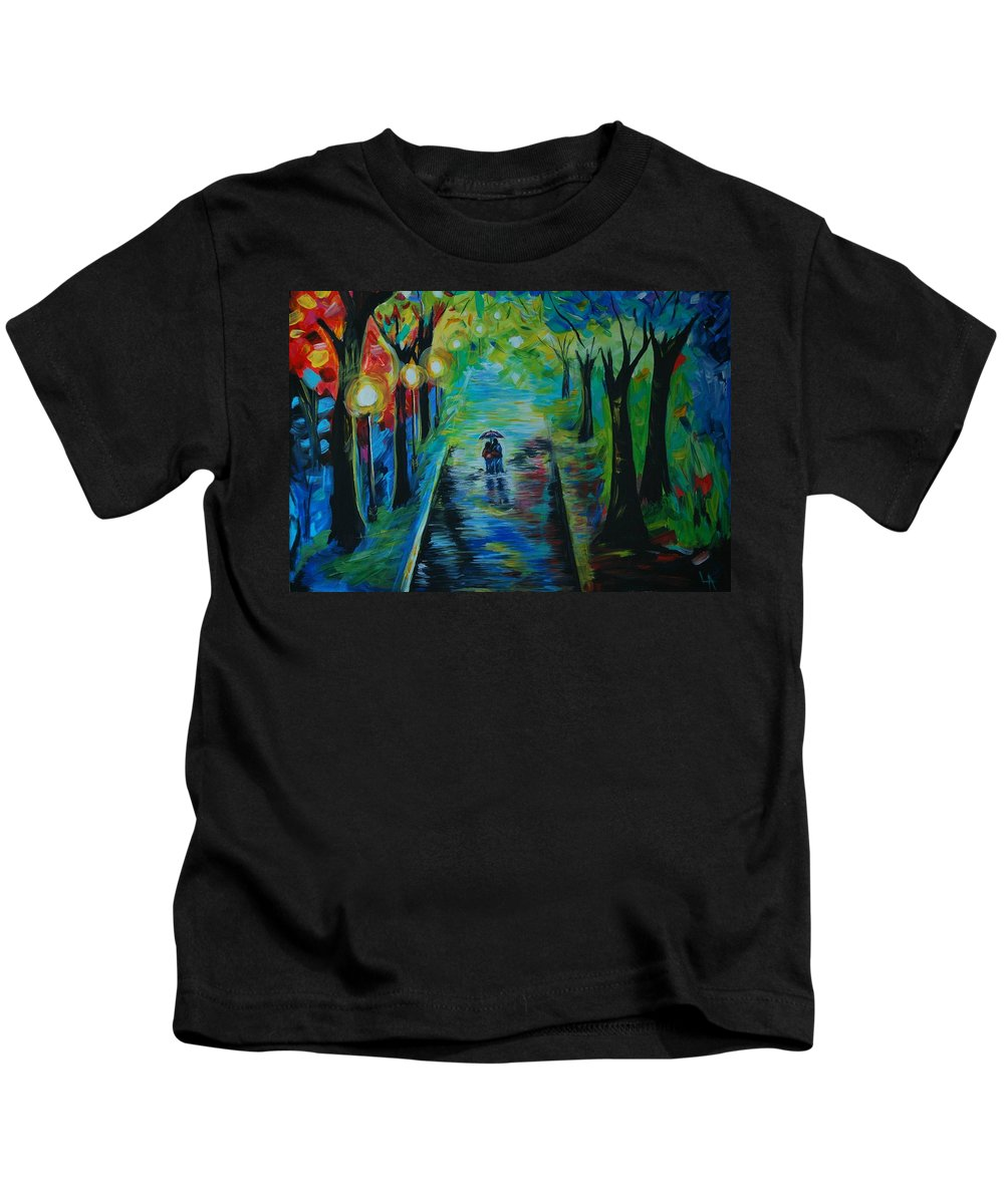 Couple Kids T-Shirt featuring the painting Romantic Stroll by Leslie Allen