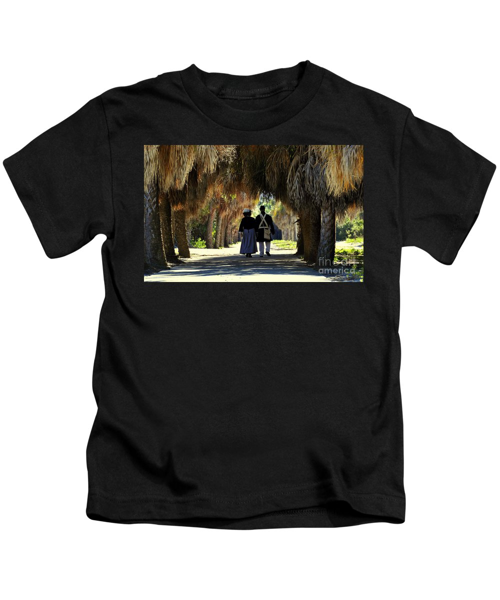 Fine Art Photography Kids T-Shirt featuring the photograph Romantic Walk 1870 by David Lee Thompson