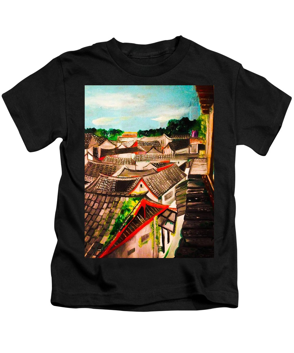 Rooftop China Yunan Kids T-Shirt featuring the painting Roof In Lijiang, China by Ashes Rose