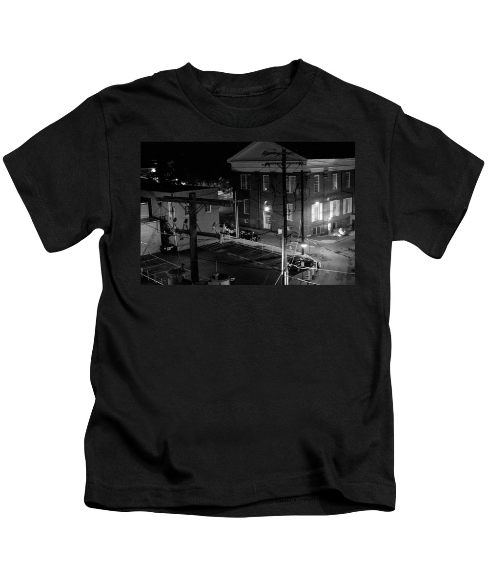 Black White Kids T-Shirt featuring the photograph Rooftop Court by Jean Macaluso
