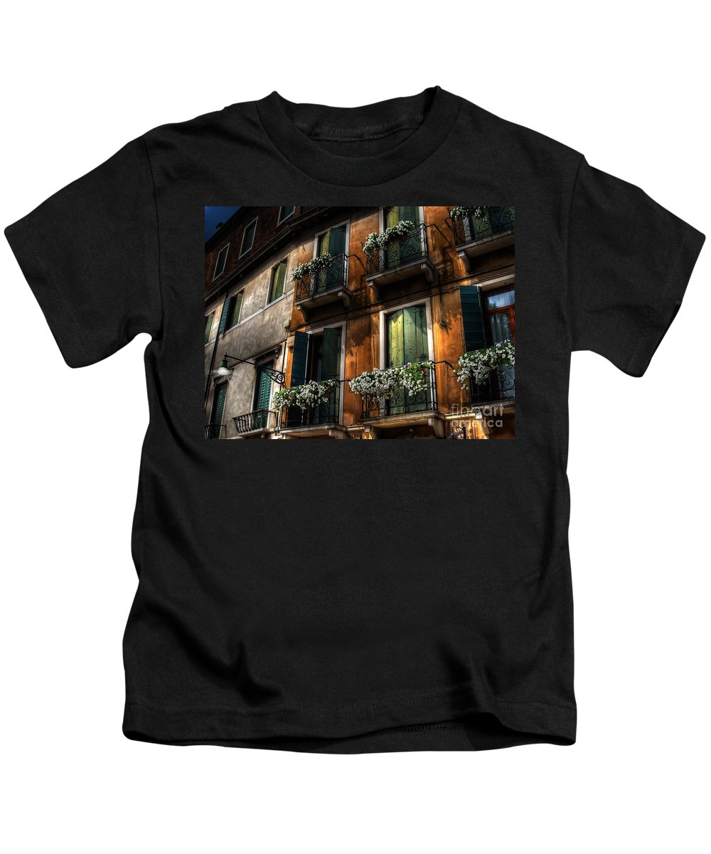 Venice Kids T-Shirt featuring the photograph Rooms With A View by Lois Bryan