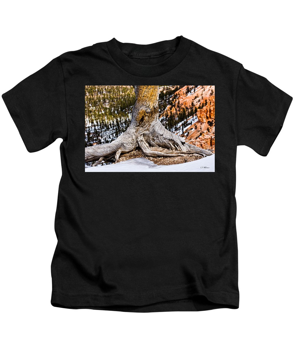Landscape Kids T-Shirt featuring the photograph Roots Gripping The Edge by Christopher Holmes