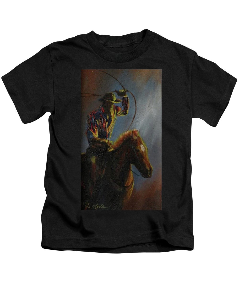 Cowboys Kids T-Shirt featuring the painting Roping The Wind by Mia DeLode