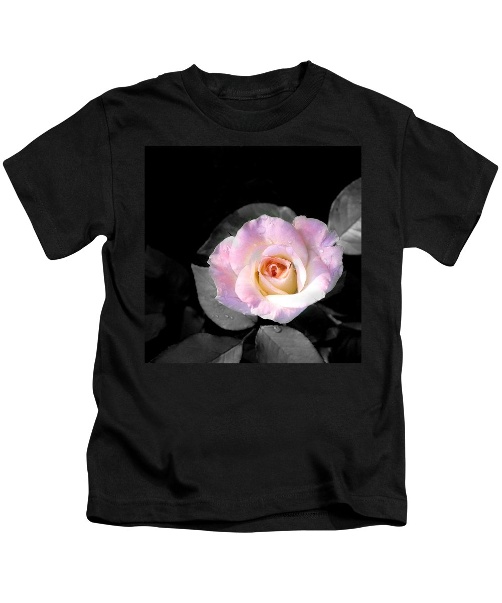 Princess Diana Rose Kids T-Shirt featuring the photograph Rose Emergance by Steve Karol