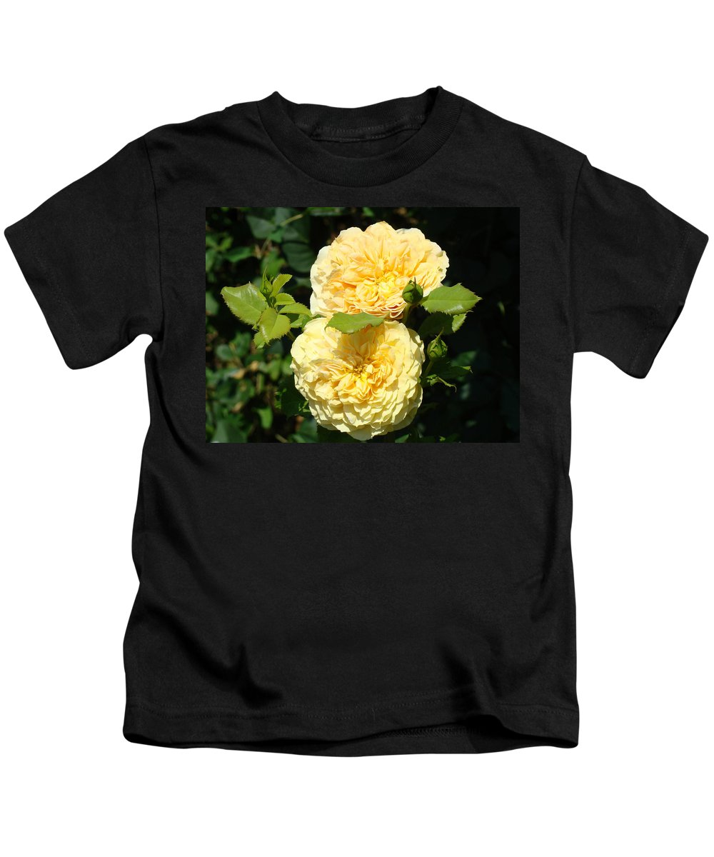 Rose Kids T-Shirt featuring the photograph Rose Garden Floral Art Print Yellow Roses Canvas Baslee Troutman by Baslee Troutman