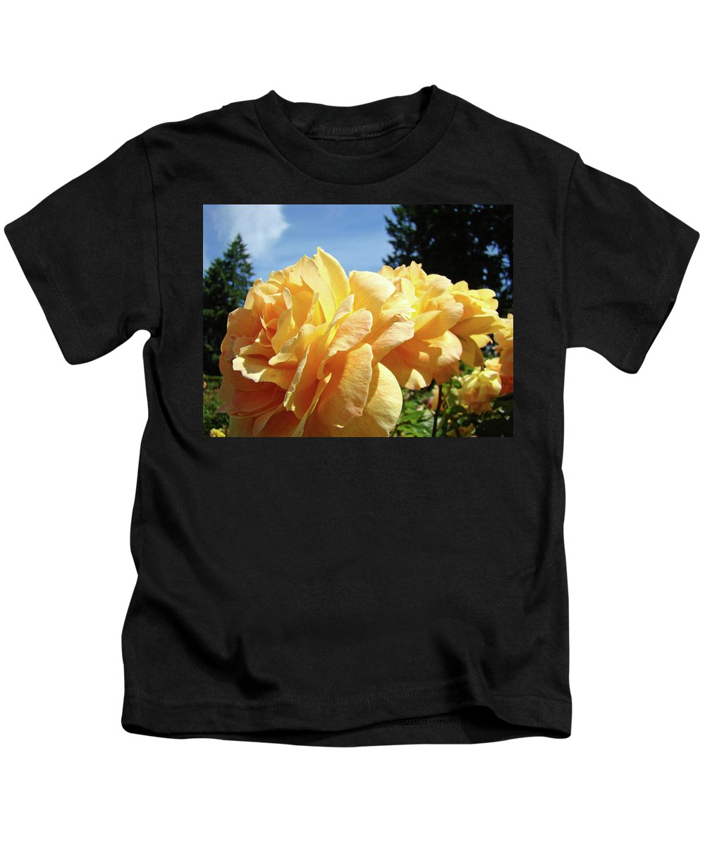 Rose Kids T-Shirt featuring the photograph Rose Garden Yellow Peach Orange Roses Flowers 3 Botanical Art Baslee Troutman by Baslee Troutman