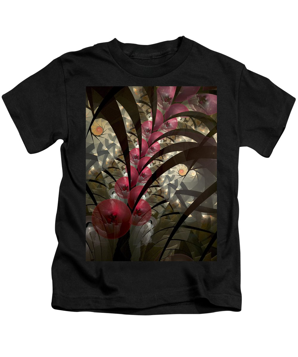 Fractal Art Kids T-Shirt featuring the digital art Rose Hip Bush by Amorina Ashton