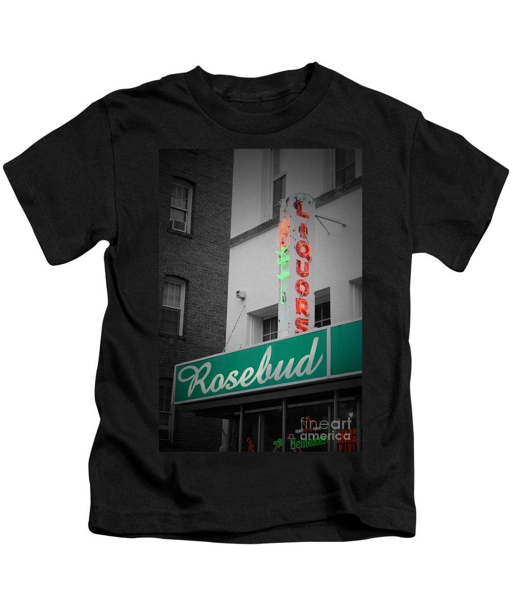 Rosebud Kids T-Shirt featuring the photograph Rosebud Liquors by Jost Houk