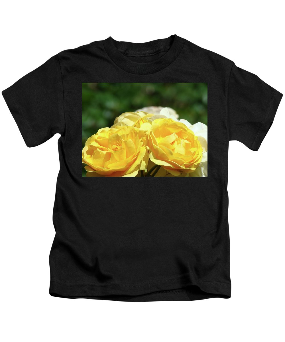 Rose Kids T-Shirt featuring the photograph Roses Art Prints Canvas Sunlit Yellow Rose Flowers Baslee Troutman by Baslee Troutman