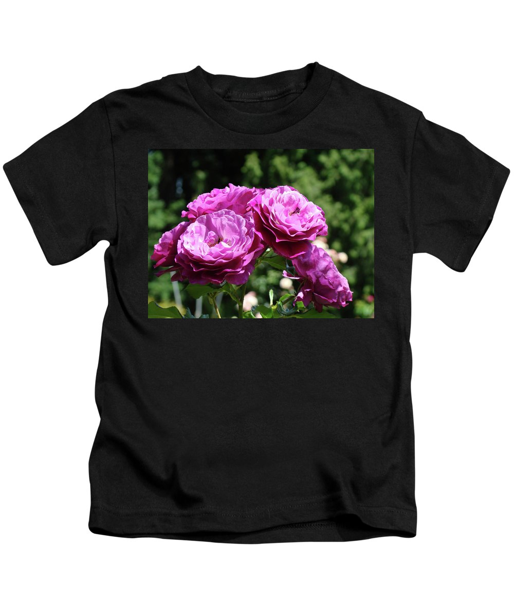 Rose Kids T-Shirt featuring the photograph Roses Art Rose Garden Pink Purple Floral Prints Baslee Troutman by Baslee Troutman