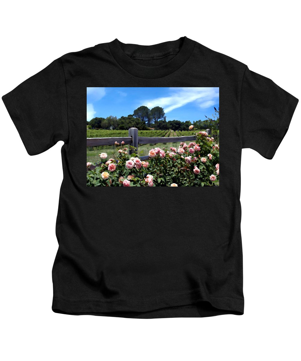 Flowers Kids T-Shirt featuring the photograph Roses At Rusack Vineyards by Kurt Van Wagner