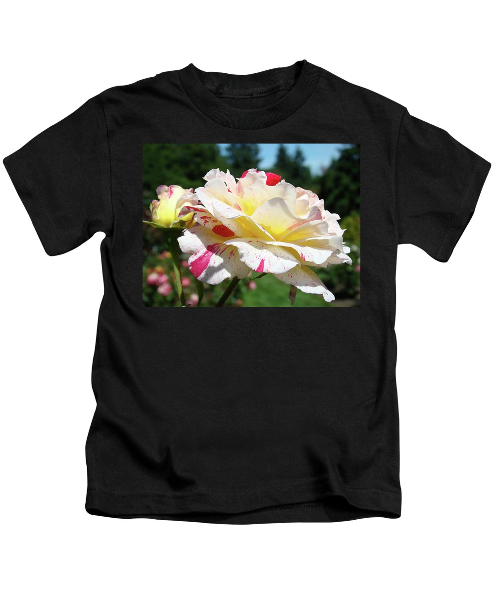 Rose Kids T-Shirt featuring the photograph Roses White Pink Yellow Rose Flowers 3 Rose Garden Art Baslee Troutman by Baslee Troutman