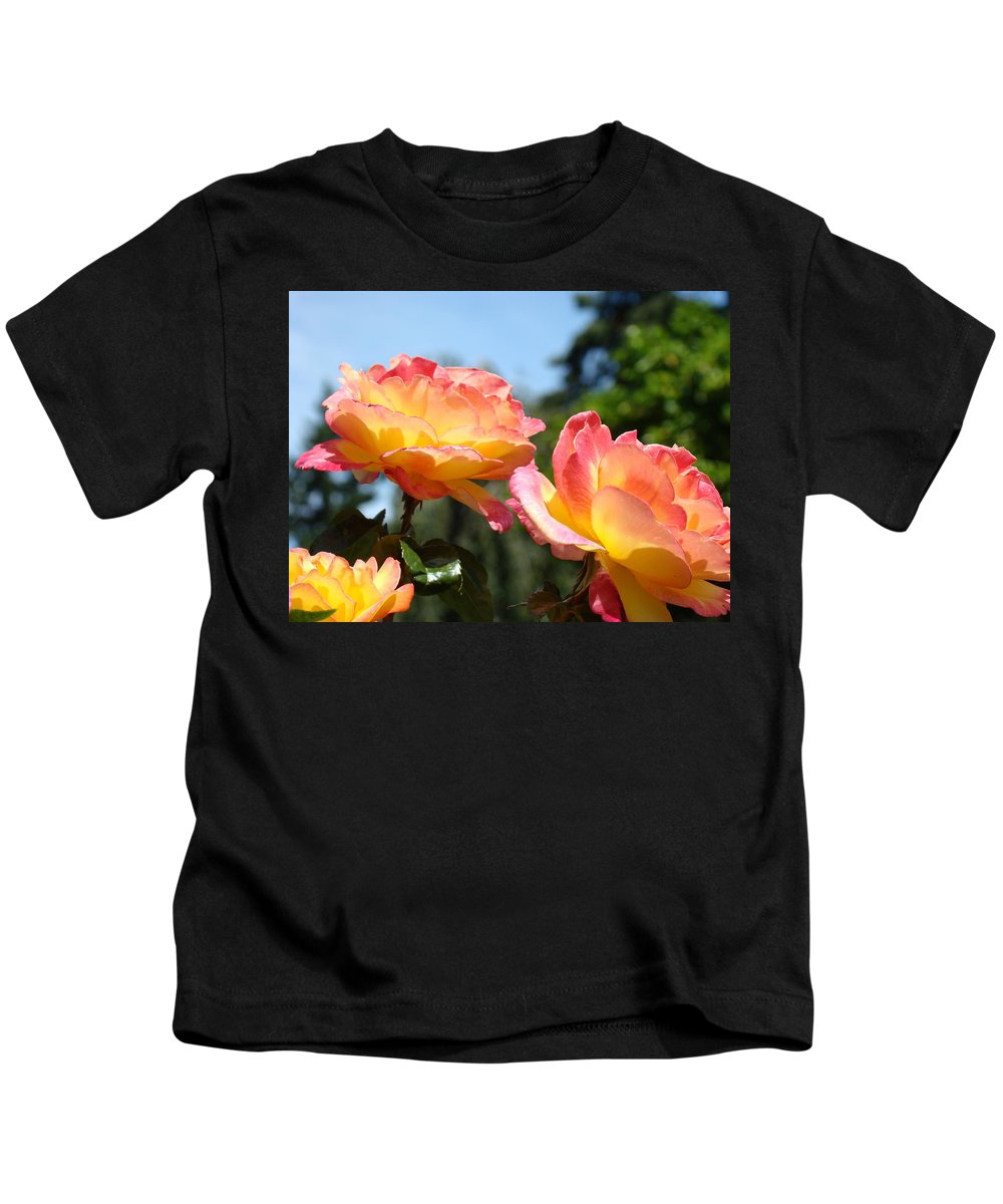 Rose Kids T-Shirt featuring the photograph Roses Yellow Roses Pink Summer Roses 4 Blue Sky Landscape Baslee Troutman by Baslee Troutman