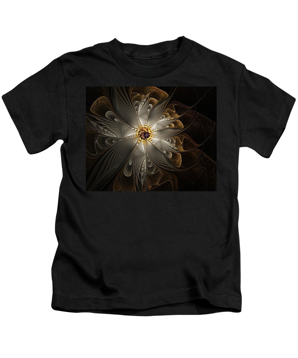 Digital Art Kids T-Shirt featuring the digital art Rosette In Gold And Silver by Amanda Moore
