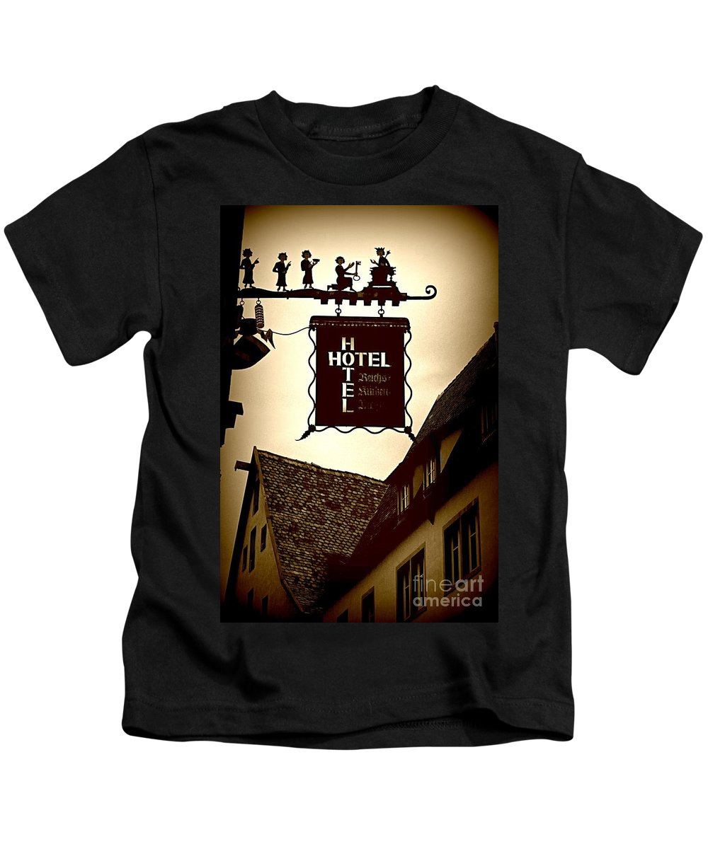 Hotel Sign Kids T-Shirt featuring the photograph Rothenburg Hotel Sign - Digital by Carol Groenen