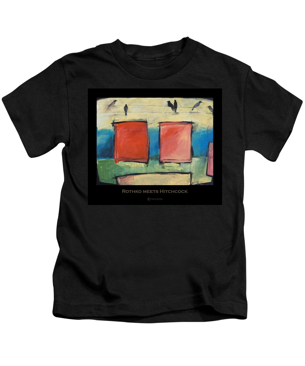 Rothko Kids T-Shirt featuring the painting Rothko Meets Hitchcock - Poster by Tim Nyberg