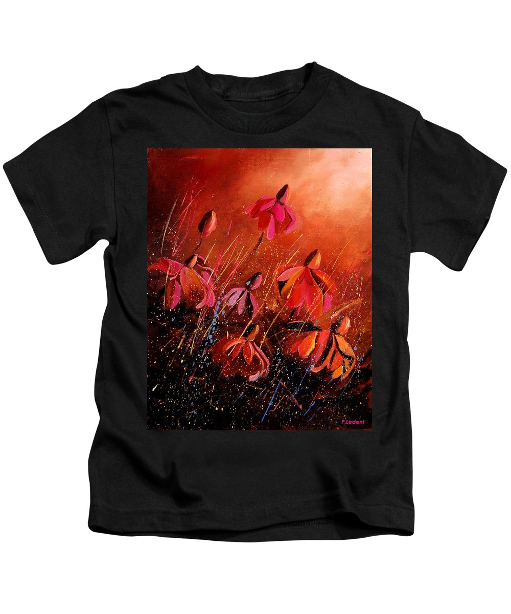 Poppies Kids T-Shirt featuring the painting Rudbeckia's 45 by Pol Ledent