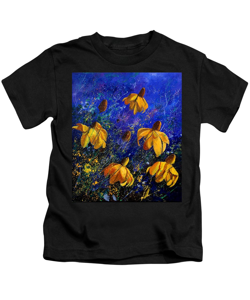 Poppies Kids T-Shirt featuring the painting Rudbeckia's by Pol Ledent
