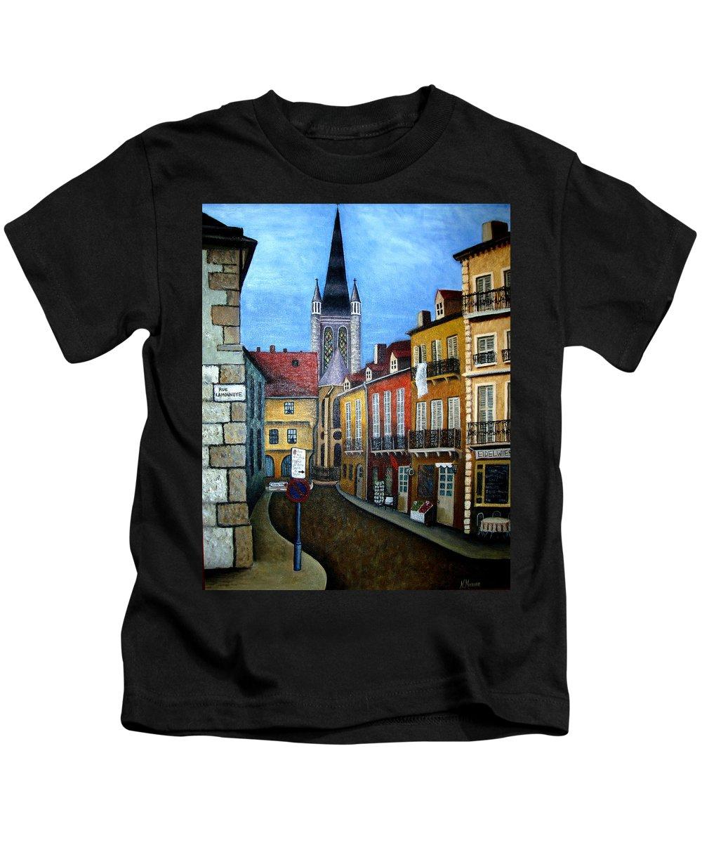 Street Scene Kids T-Shirt featuring the painting Rue Lamonnoye In Dijon France by Nancy Mueller