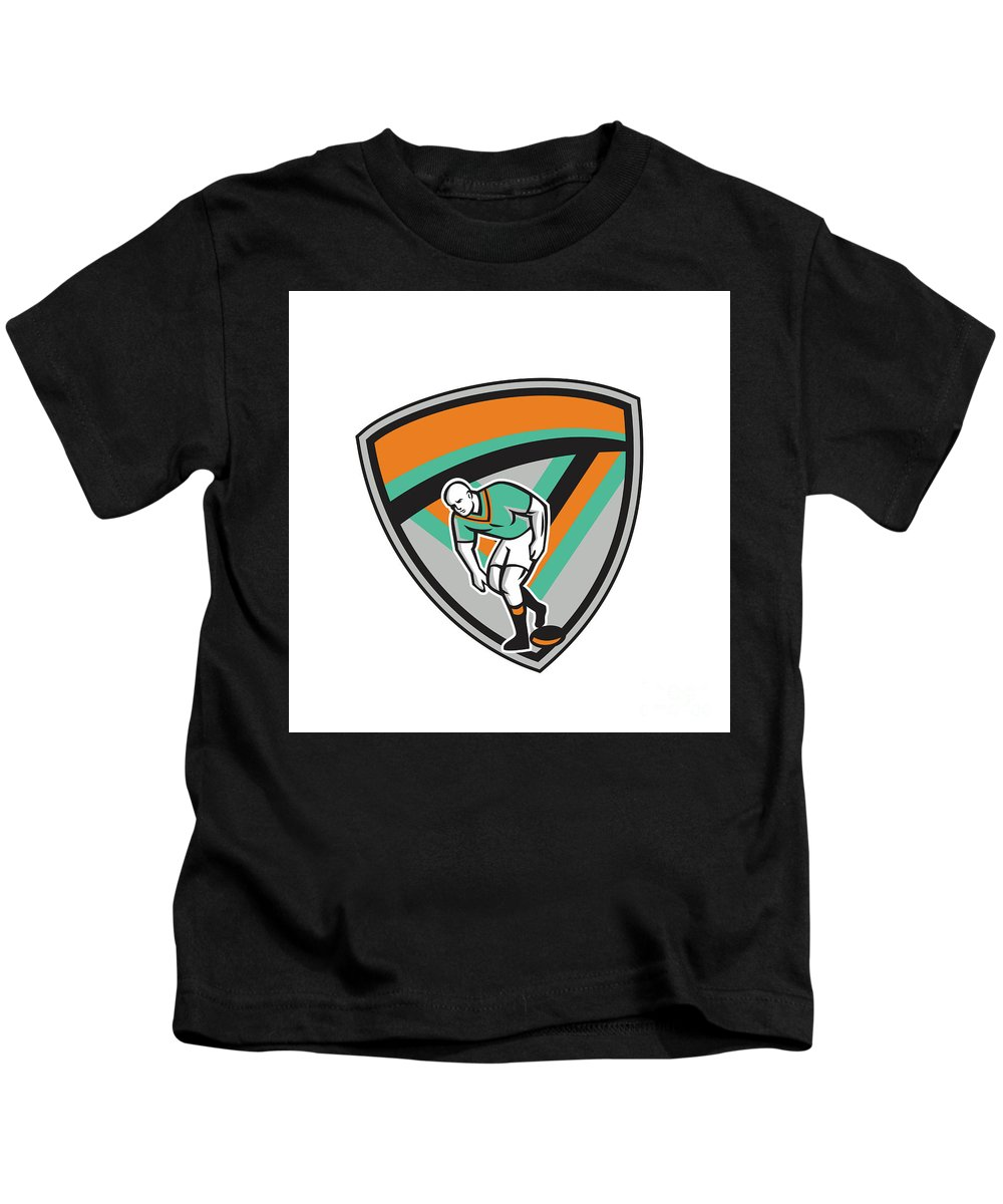 Rugby Kids T-Shirt featuring the digital art Rugby League Player Playing Ball Shield Retro by Aloysius Patrimonio