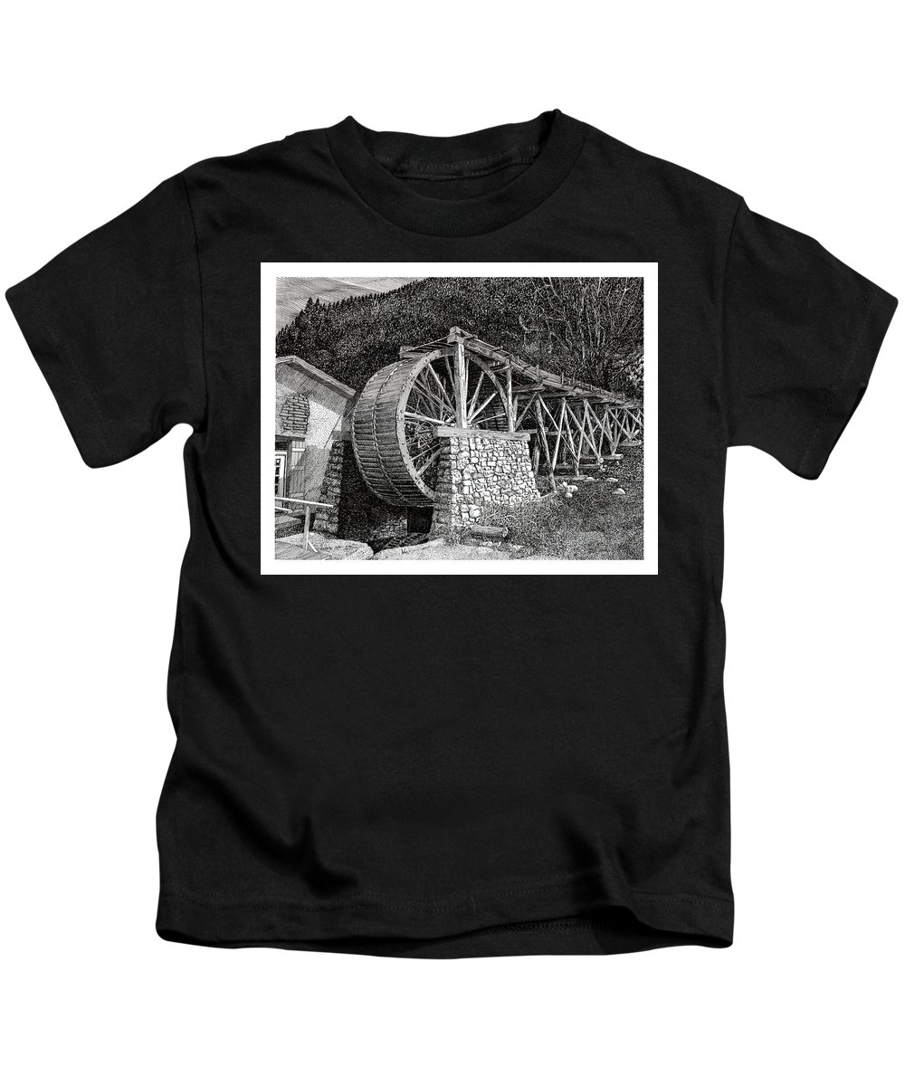 Images Of Ruidoso Waterwheel Scenic Structures Kids T-Shirt featuring the drawing Ruidoso Waterwheel by Jack Pumphrey