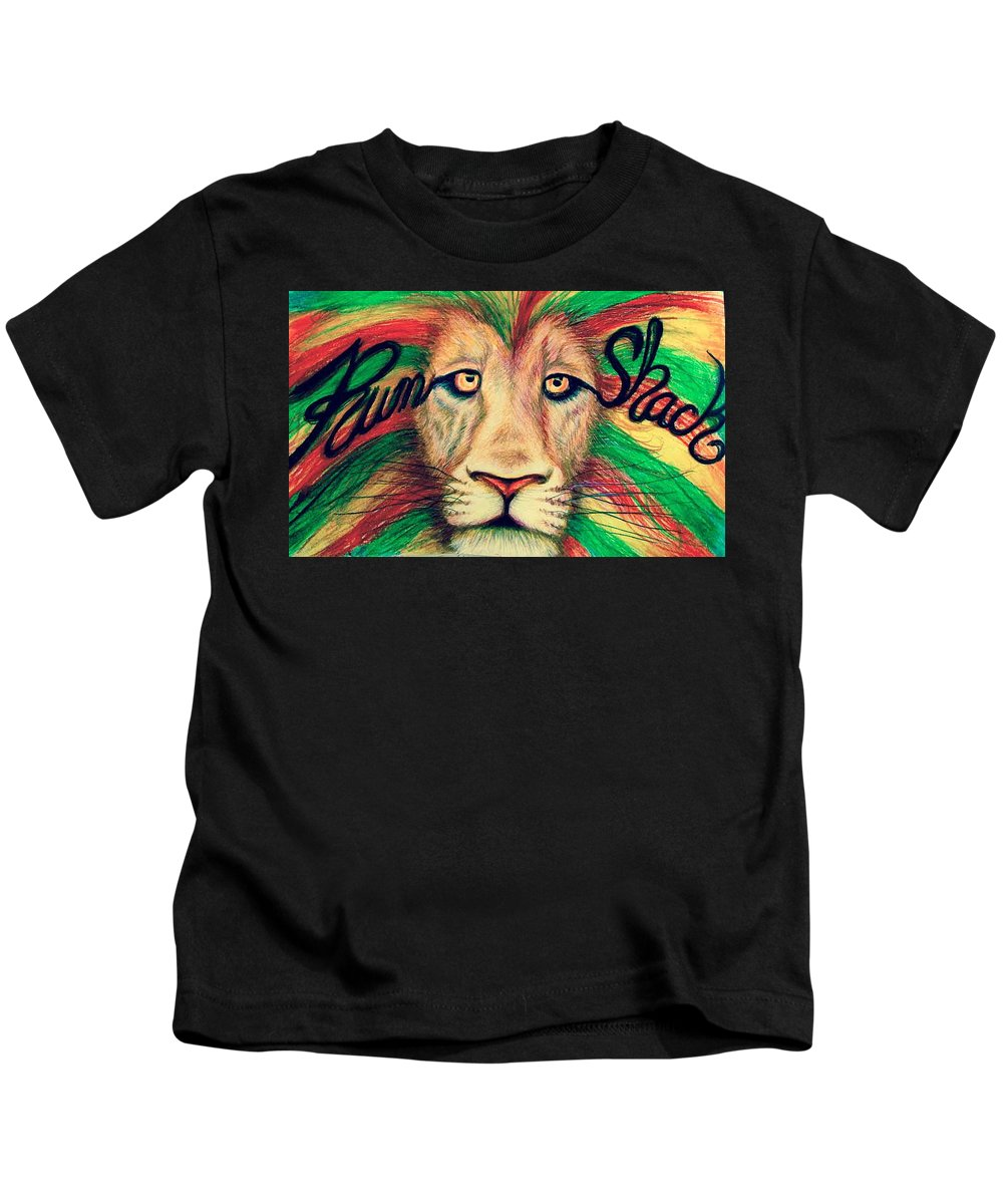 Rum Shack Kids T-Shirt featuring the painting Rum Shack Zen Lion by Maria Hatefi