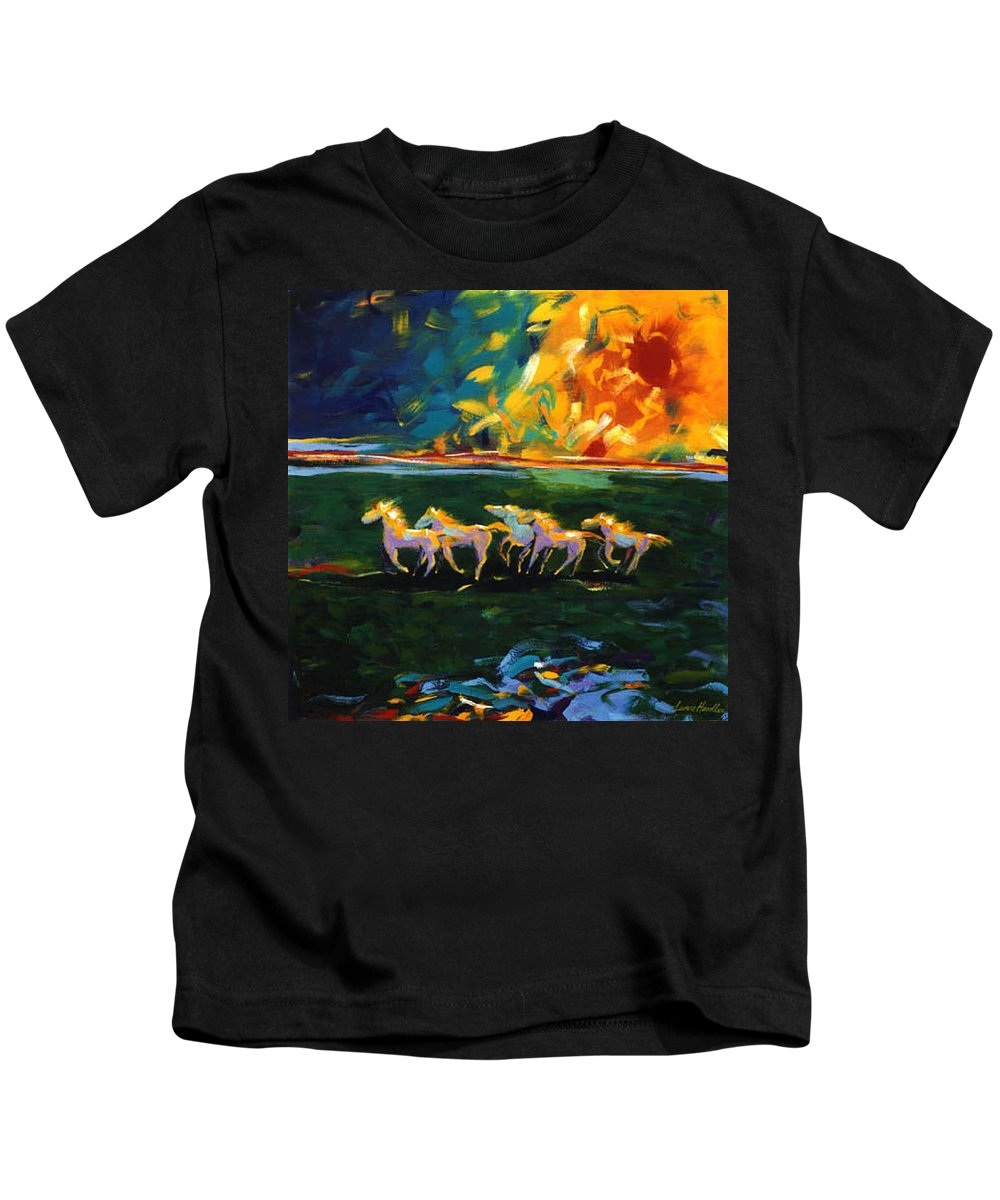 Abstract Horse Kids T-Shirt featuring the painting Run From The Sun by Lance Headlee